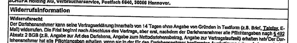 Fehlerhafte Widerrufsinformation aus Urteil des Europäischen Gerichtshofs vom 26.03.2020 in der Rechtssache C-66/19