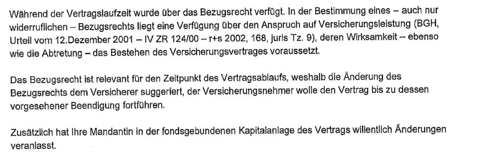 Ablehnung gemäß BGH, Urteil vom 12. Dezember 2001 - IV ZR 124/00